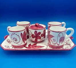 Servizio caffè 4 tazzine + zuccheriera Red Autumn