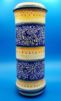 Vaso di fiori graffiato blu