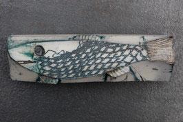 09-1 Kleiner Steinfisch, unglasiert, Metallsalzgefärbt