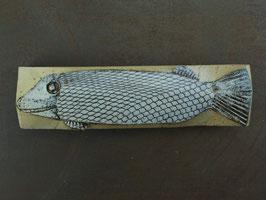 02 Steinfisch groß, Mattgrau auf Kobalt