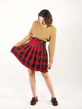 plaid wool skirt red