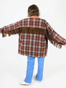 plaid tassel jacket