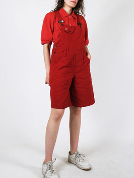 short dungarees red