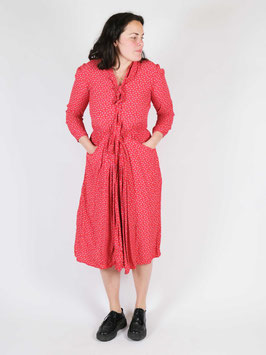 dress long sleeves red little dots