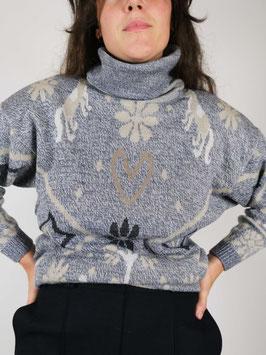 knit turtleneck grey heart