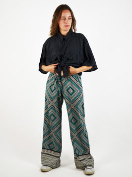 wide leg pattern pants turquoise
