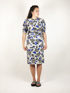 two-piece blue white pattern silk