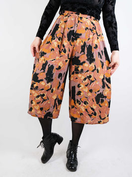 orange brown pattern shorts culotte