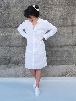 reworked shirt dress white