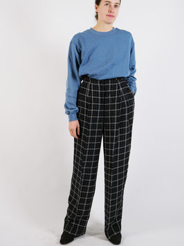 wide leg trousers black and white