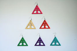 "Wooden Color ""Ankh Pyramid"" Earring"