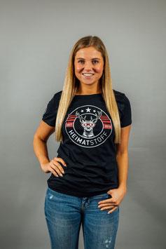 T-Shirt Damen Heimatstoff schwarz