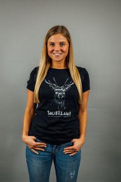 T-Shirt Damen Hirsch schwarz