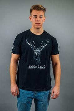 T-Shirt Herren Hirsch schwarz