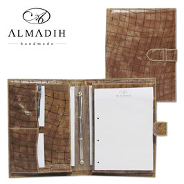 ALMADIH Leder-Aktenmappe A4 - Rauten braun