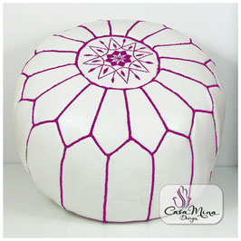 Ledersitzkissen - weiß mit lila Ziernaht, aus echtem Ziegenleder