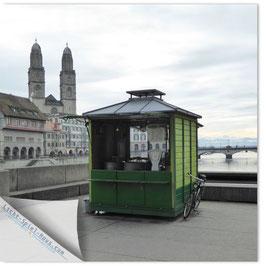 StadtSicht Zürich 099b, Marroni Häuschen mit Grossmünster 001