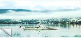 """ZRH Zürisee 013b, Seeschiff """"Stadt Zürich"""" mit Uertliberg"""