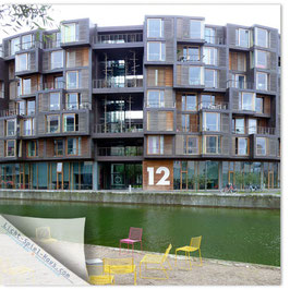 StadtSicht Kopenhagen, Gelbe Stühle rundes Haus 001 (Tietgen Studentenwohnheim)