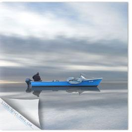 StadtSicht Zürich 059d, blaues Boot mit Fischer 001