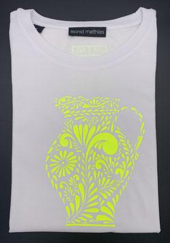 "Ak-Damen - organic Bembel-Shirt "" neongelb auf weiß"""