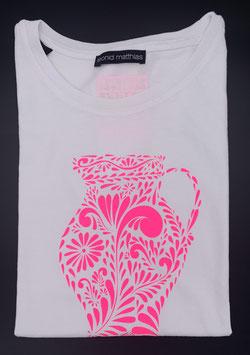 "Ak-Damen  - organic Bembel-Shirt ""neonpink auf weiß"""