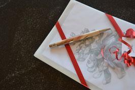 Kartenset mit gedrechseltem Arvenkugelschreiber