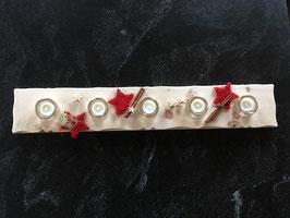 NEU: Arvenbrett verziert mit 5 Glasi-Teelichtgläser