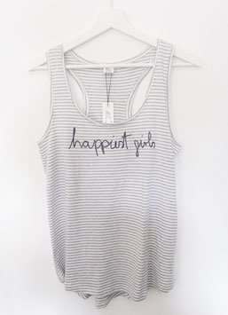 "Tanktop gestreift ""happiest girls are the prettiest"""