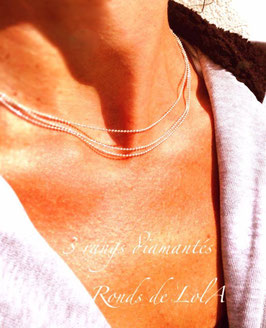 Collier 3 rangs diamantés