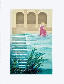 Holzschnitt: Wasserbecken