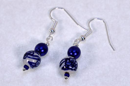 DB-3022 Delfts blauwe bloem en glasparel
