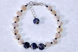 Delftsblauwe parel armband DB-2045 bloem