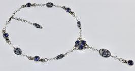 DB-1017 Delfts blauw collier,Swarovski strass kobalt en tulpjes