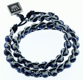 DB-2033 Dubbele Chan-Luu armband blauw/wit