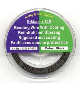 2384 Soepel gecoat rijgdraad zwart, 10mtr x 0,45mm