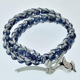 DB-2035 Dubbele Chan-Luu armband wit/blauw
