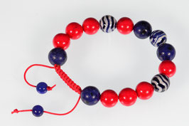Delftsblauwe armband, rood Koraal en Lapis Lazuli DB-2052