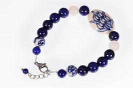 Delftsblauwe armband Lapis Lazuli  met Rozenkwarts DB-2051