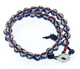 DB-2034 Dubbele Chan-Luu armband blauw/oranje