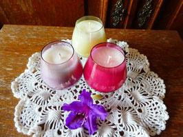 COGNACTRÄUME  - weißes Kerzenwachs in bunten Cognacgläsern - KS5
