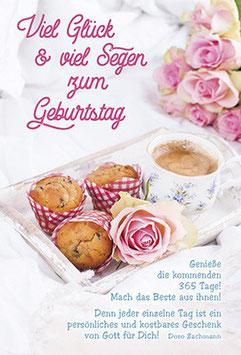 Geburtstags-Faltkarte: Glück und Segen, Muffins