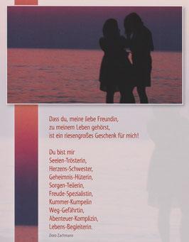 Große Postkarte: Freundinnen - Herzensschwestern