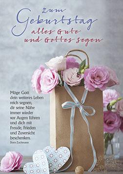 Geburtstags-Faltkarte: Freude, Friede, Zuversicht