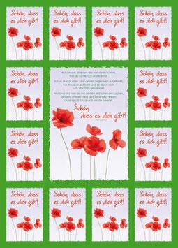 Aufkleber-Postkarte: Schön, dass es dich gibt