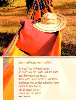 Große Postkarte:  Hängematte - Mach mal Pause