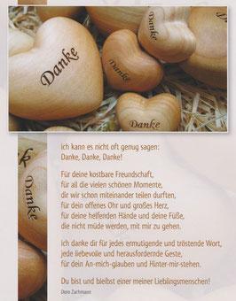 Große Postkarte: Holzherzen - Danke für deine kostbare Freundschaft
