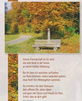 Postkarte Bank unter herbstlichem Baum -  Bei dir kann ich ausruhen