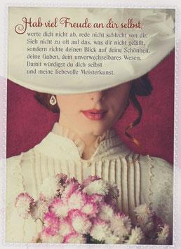 Dame mit Hut - Hab viel Freude an dir selbst