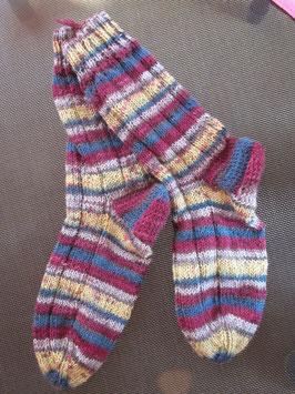 Strick-Socken Gr. 39/40 petrol/bordeaux/ gelb/grau kleine Streifen